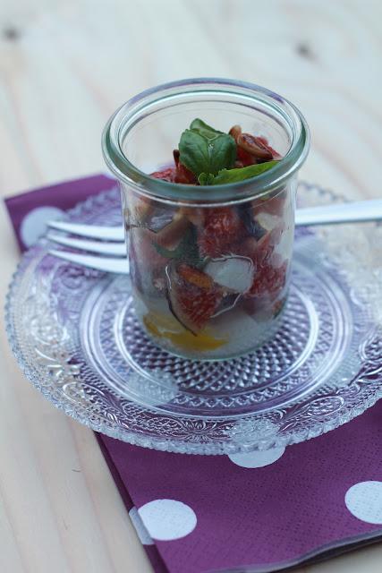 Verrine de figues , mozzarella ,basilic