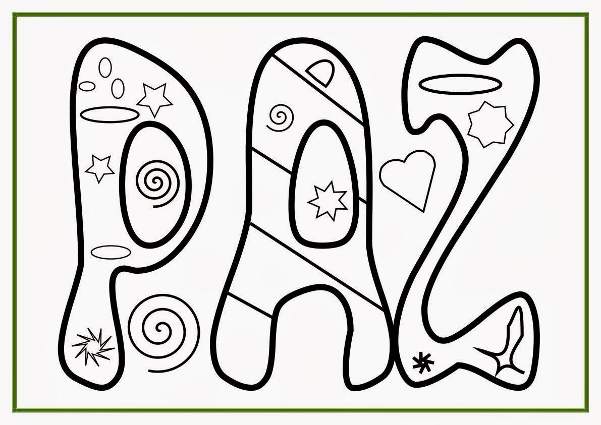 Dibujo con la palabra paz para colorear | fotos tiernas de amor