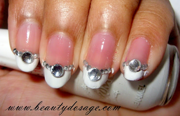 notd blinged french manicure