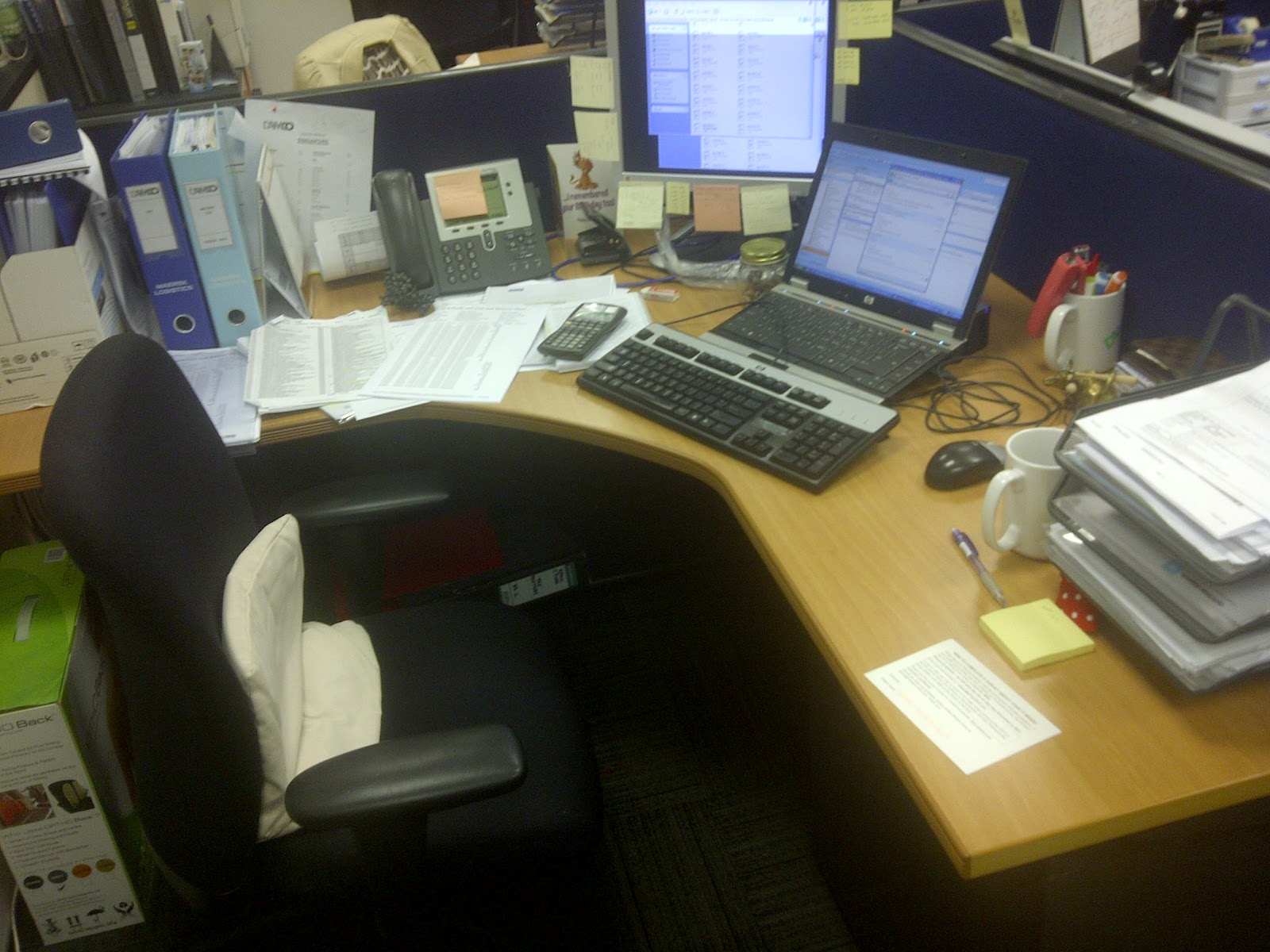 My Office Desk As An Accountant Is Just Hmm...messy With Sticky Notes.