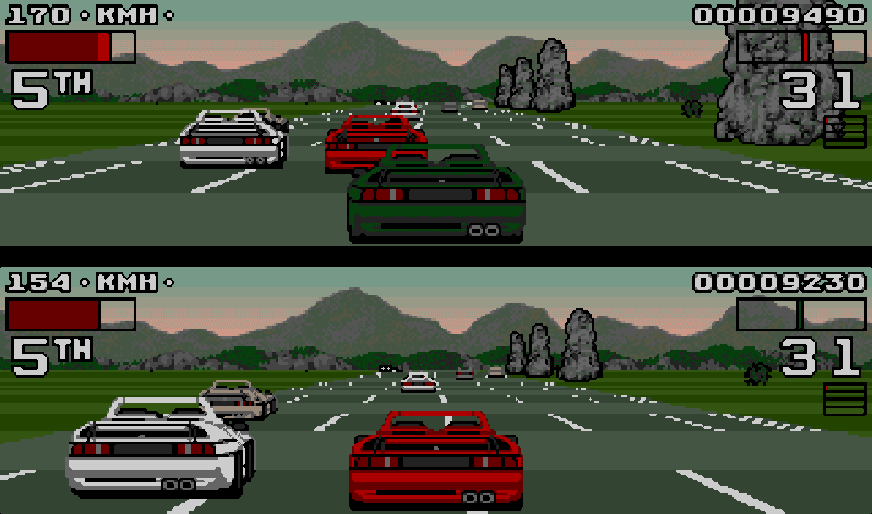 Game type racing single player two player