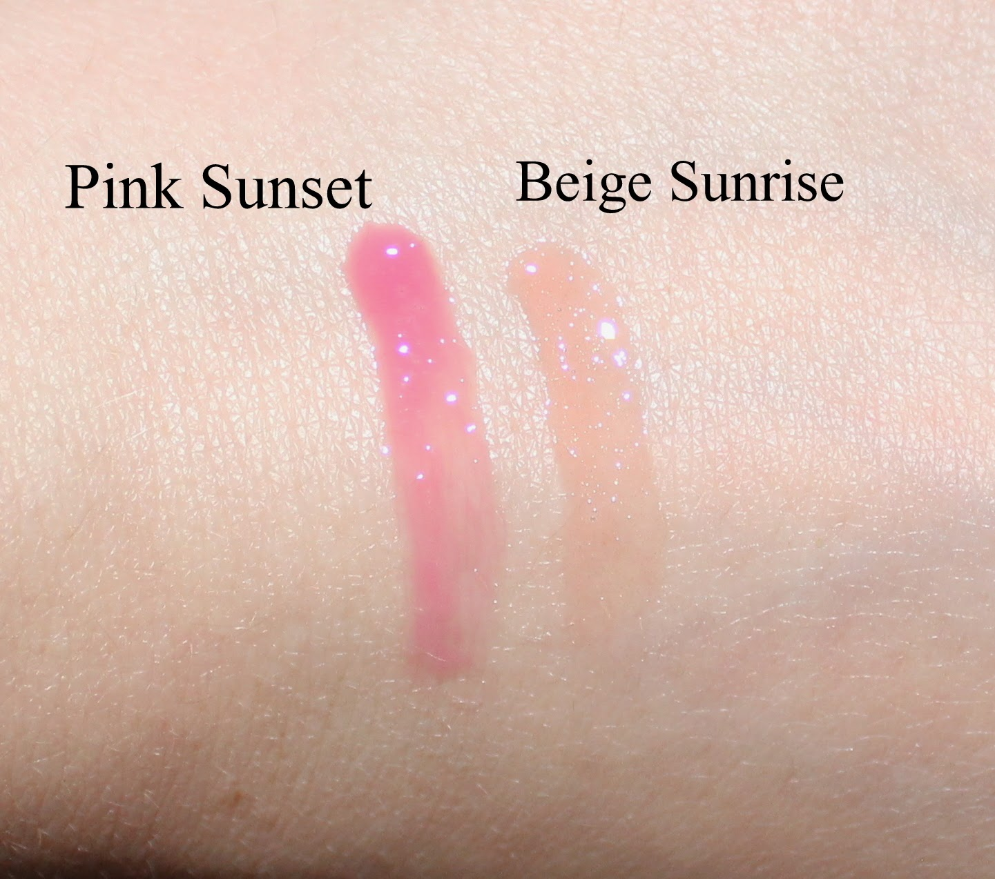 Dior Addict Lip Maximizer in Beige Sunrise & Pink Sunset Swatches