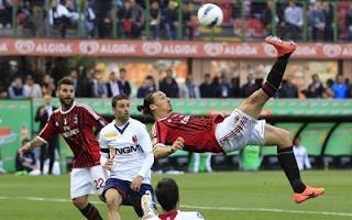 أهداف مباراة ميلان و بولونيا 1-1 في الدوري الايطالي 22-4-2012