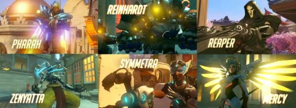Overwatch, Overwatch Heroes, Reaper, Mercy, Symmetra, Reinhardt, Zenyatta, Pharah