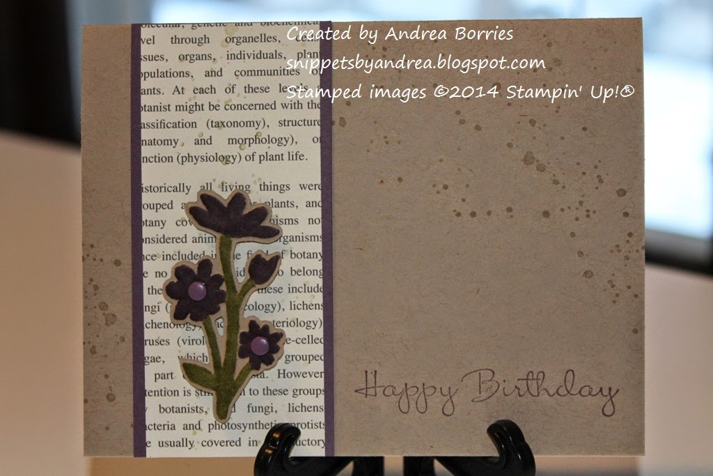 Crumb Cake card base with a panel of newsprint-style printed paper on the left side. On the printed paper is a die-cut and embossed flower colored with Perfect Plum and Old Olive.