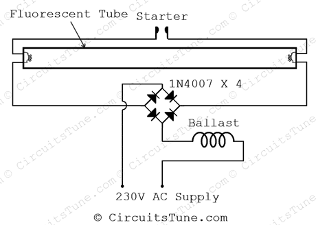 re using fused tube light by diode circuitstune use fused tube light the circuit diagram