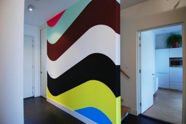 Colorful Wall Treatment Unique Pattern Double Wall Painting Ideas Modern House Plans Designs 2014