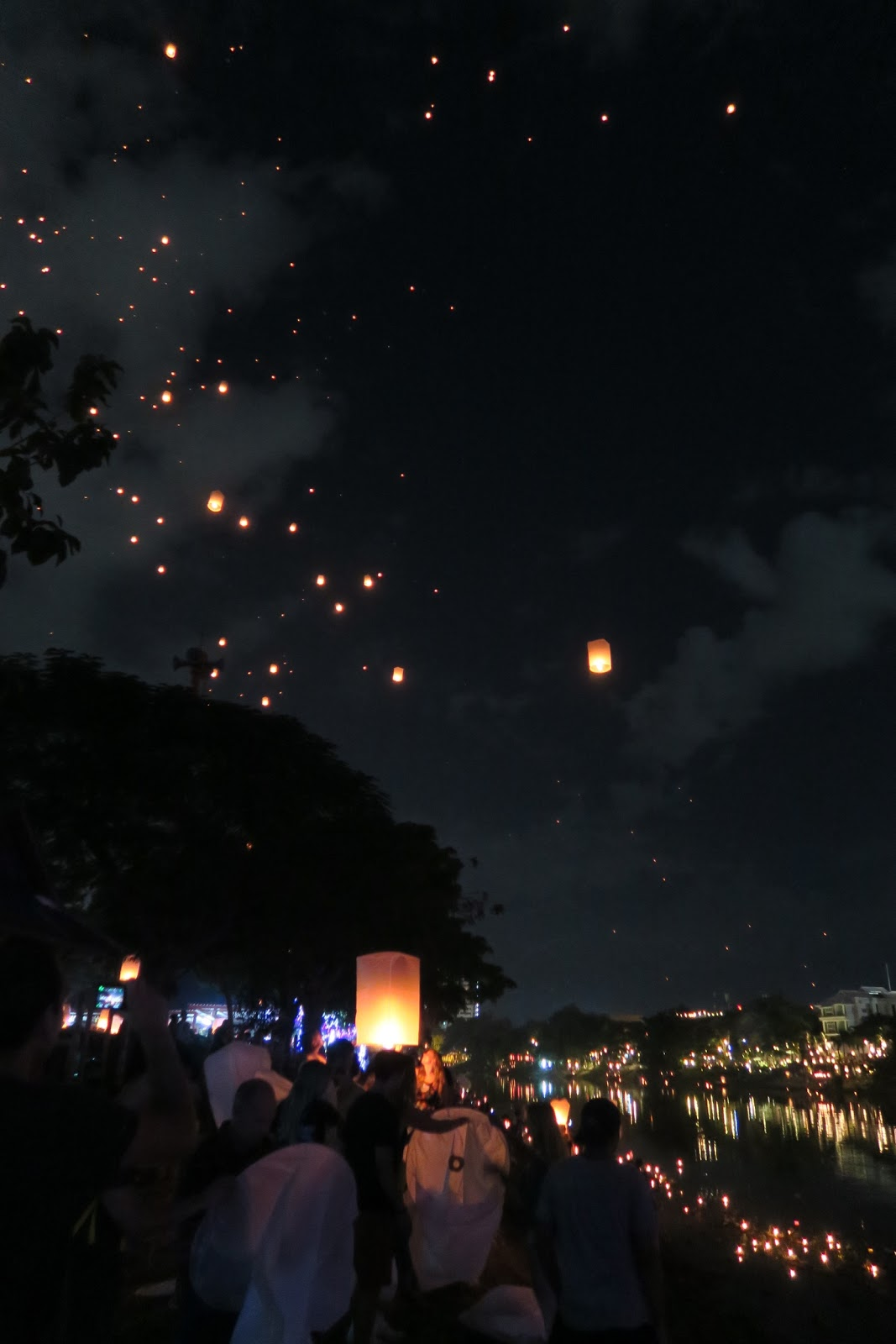 Lanterns fill the sky like stars during the Yi Peng festival in Chiang Mai