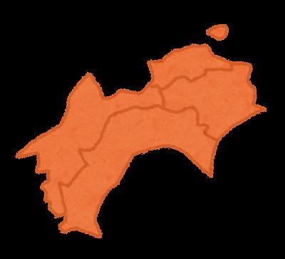 四国地方の地図のイラスト(地方区分)県境あり