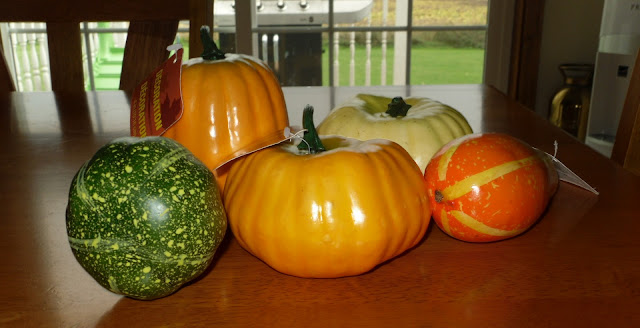 Fake gourds and pumpkins from Dollar Store