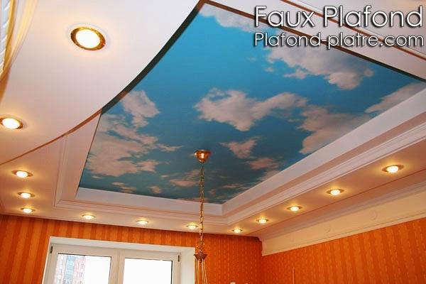Plafond suspendu décoration ciel