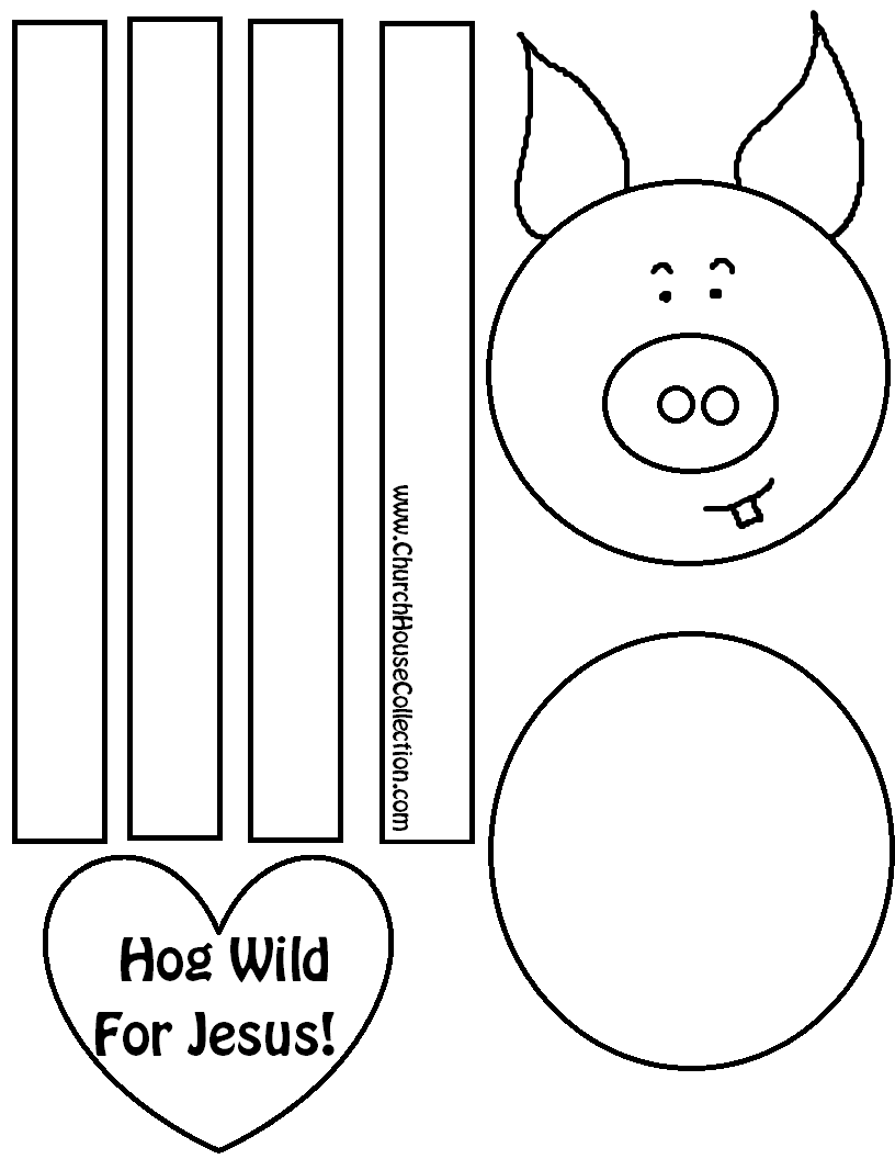 Hog Wild For Jesus Pig Craft For Valentine's Day For Sunday School Childrens Church Coloring Page Printable Free Template by Church House Collection COLORED WITH WORDS