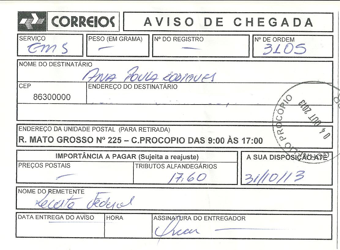AVISO CORREIO