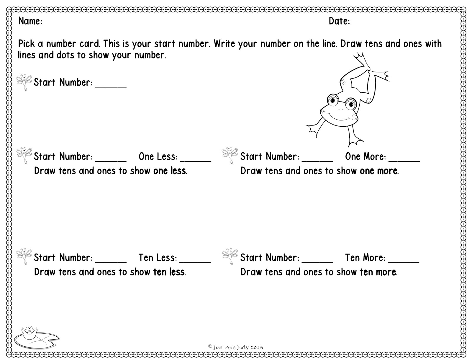 How to develop understanding of ten less ten more freebie just the what so i created an adorable frog themed place value mat and two recording sheets to share for this activity nvjuhfo Images