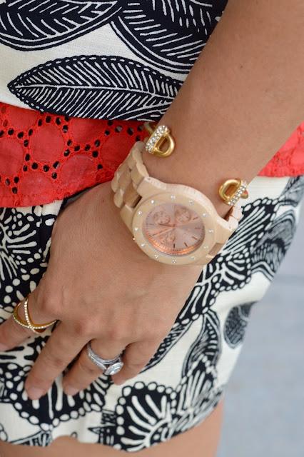 Jord Sydney Watch, BaubleBar Crystal Mason Ring, J Crew Polynesian Floral Short