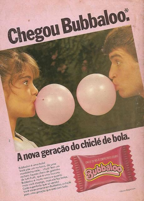 Propaganda de lançamento do chiclete Bubbaloo em 1986.