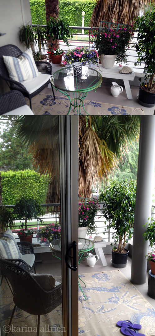 We love our covered corner balcony- we added an outdoor rug, and plants for privacy.