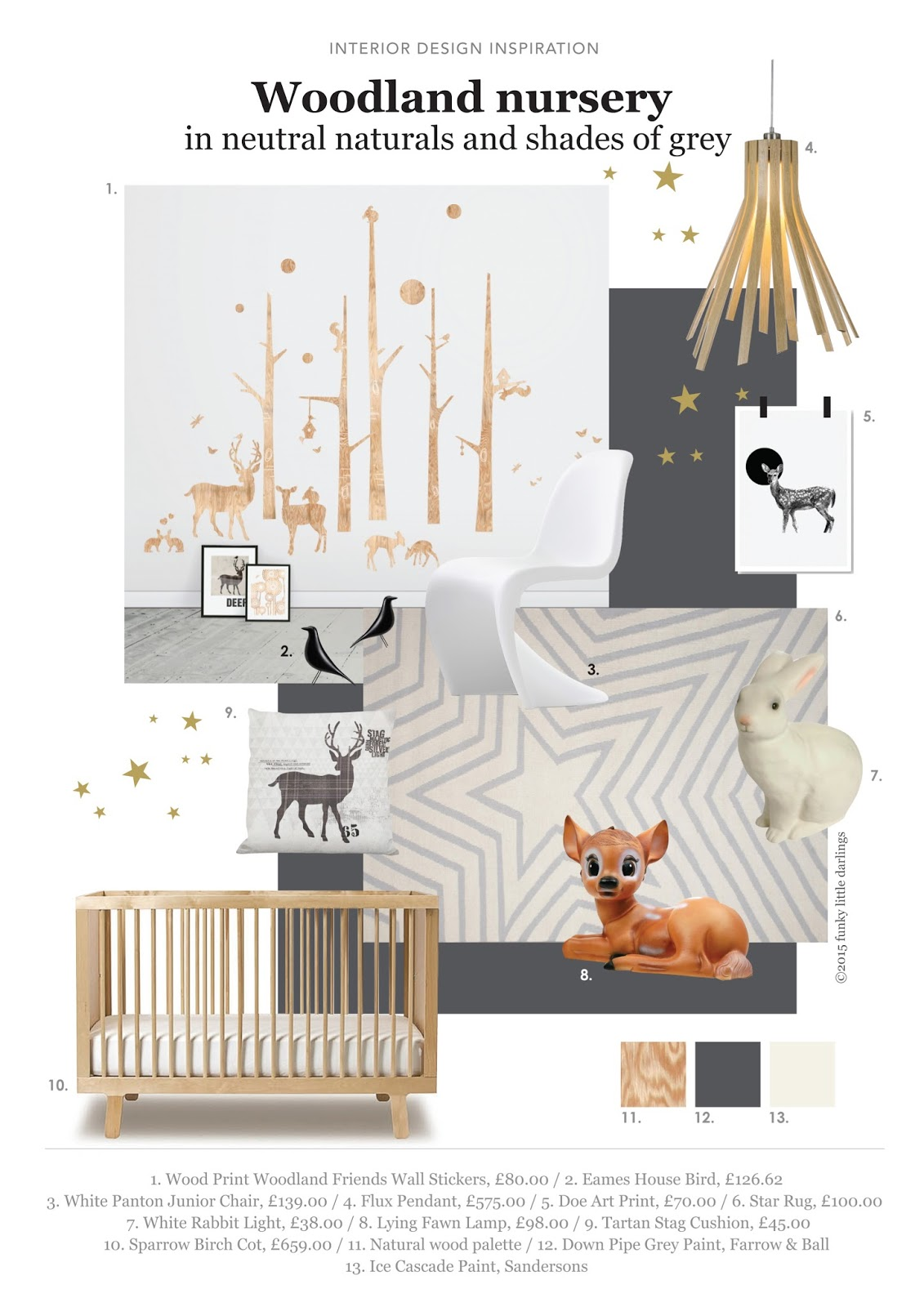 Woodland Themed Nursery With Neutrals And Shades Of Grey Mood Board