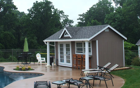 Turn your outdoor storage shed or barn into a home studio for Shed into pool house