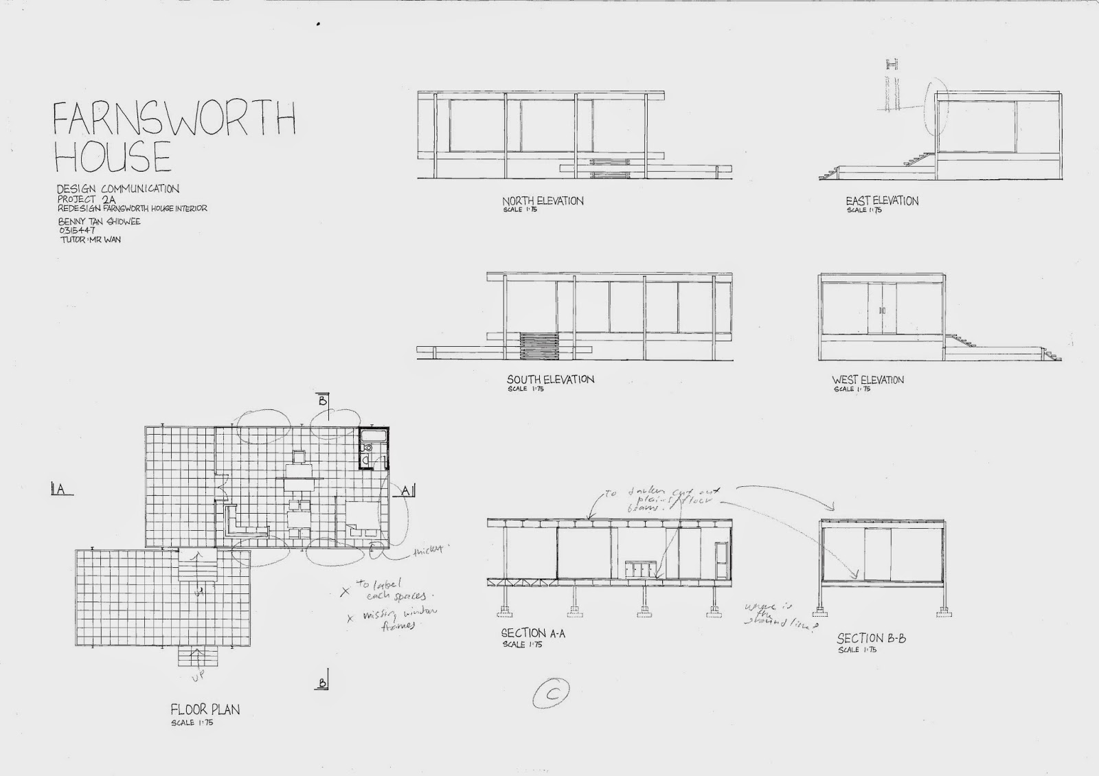 Design communication project 02 bennyts e portfolio for Farnsworth house floor plan