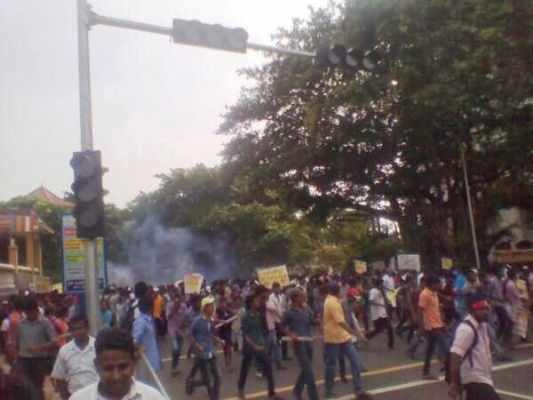 University Students Protest March to Colombo Police Fired Tear Gas