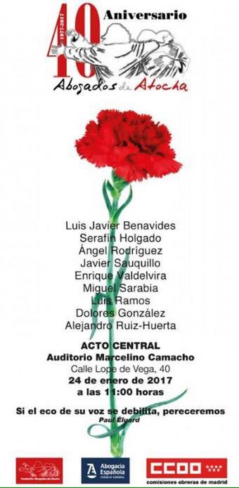 24 enero 40 Aniversario Abogados de Atocha