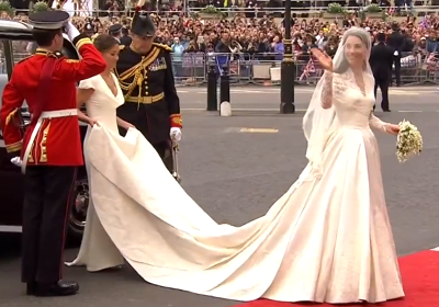 Catherine Middleton's wedding dress by Sarah Burton from Alexander McQueen, as she arrives at Westminster Abbey. YouTube 2011.