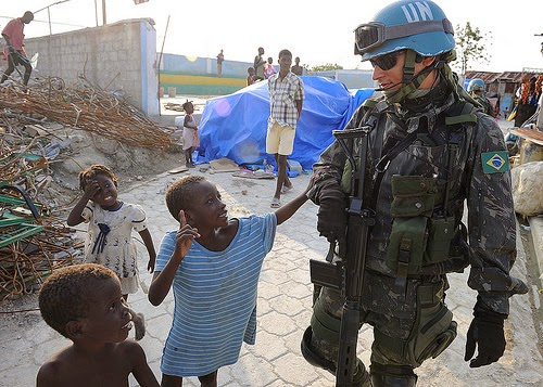 "UN ""peacekeeper"" in Haiti - They won't leave. (Photo by Global Panorama)"