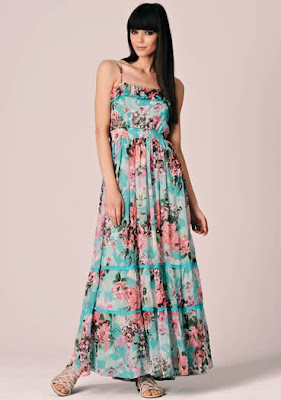 Blue Yumi Rose Floral Maxi Dress
