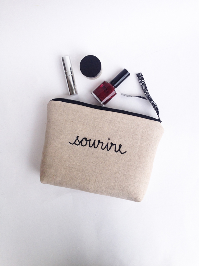 Linen and Black French Typography Clutch Bag by Mama Bleu Designs