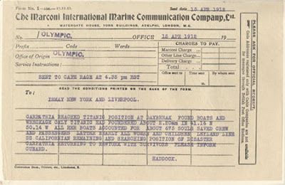 Distress signals of the Titanic, marconigram -Travel Europe Guide | Titanic 100th anniversary