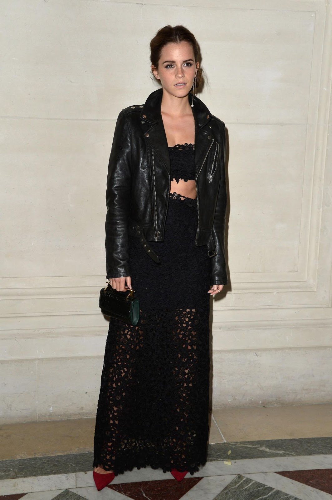 Emma Watson Bares Midriff In Black Lace Two Piece Dress At The Valentino Fall 2014 Couture Show
