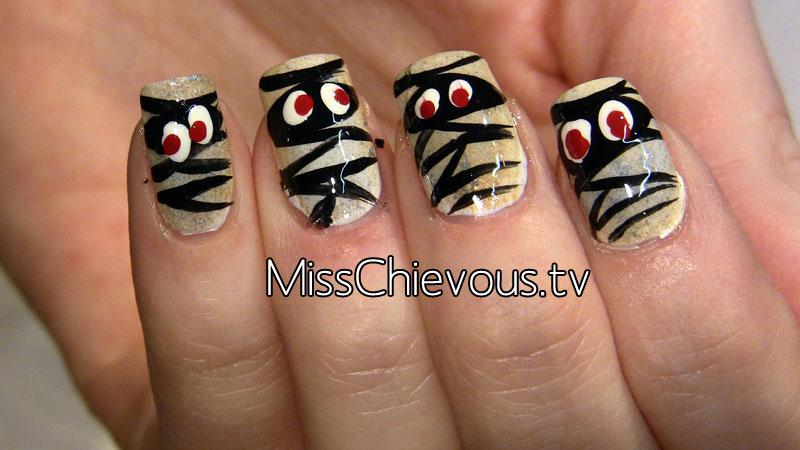 Halloween Mummy Nails Mummy nails for halloween