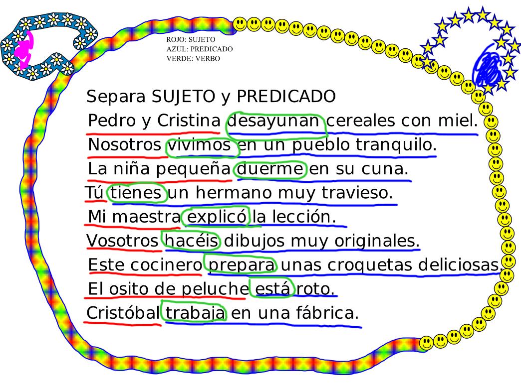 10 oracion sujeto predicado nucleo: