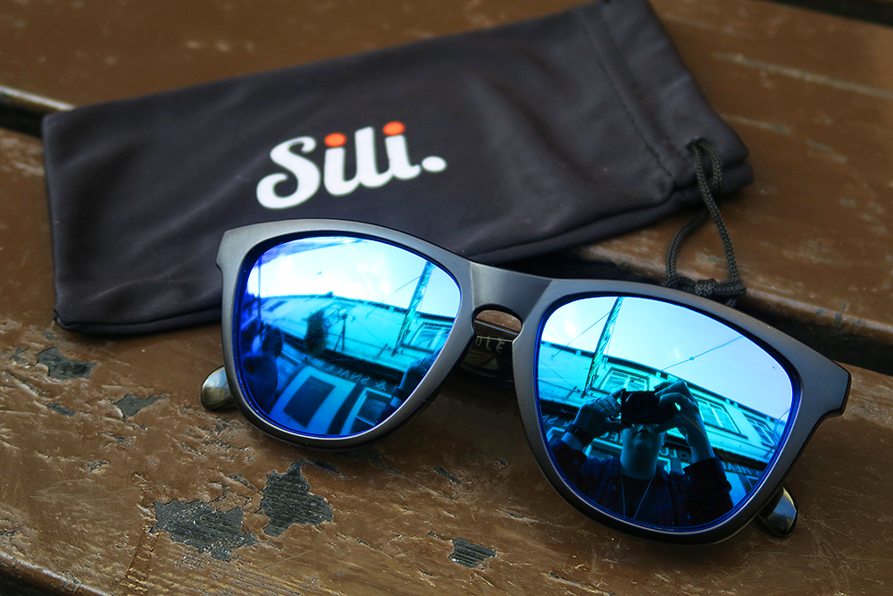 Sili Sunglasses Black Frames Frosted Grey Arms Ice Blue Lens with soft case