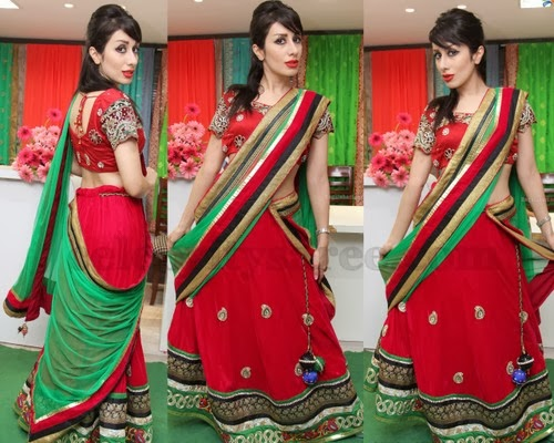 Nazia Red Georgette Half Saree