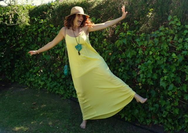 vestido largo amarillo verano