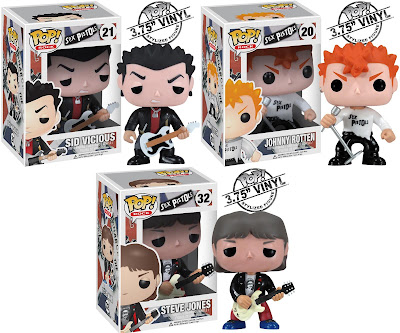 The Sex Pistols Pop! Rocks Vinyl Figures by Funko - Sid Vicious, Johnny Rotten & Steve Jones