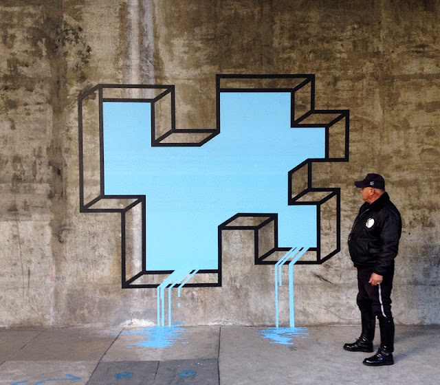 """L.A Leaker"" New Street Art Piece By Aakash Nihalani On The Streets Of Los Angeles, USA."