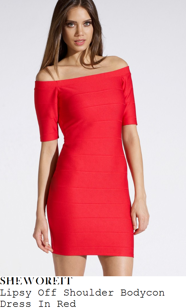 georgia-may-foote-off-the-shoulder-bandage-dress