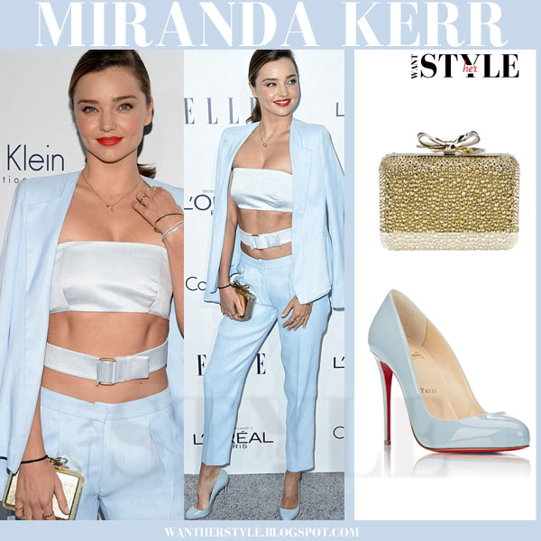Miranda Kerr in light blue jacket, crop top, light blue pants and blue pumps Christian Louboutin Dorissima what she wore model style