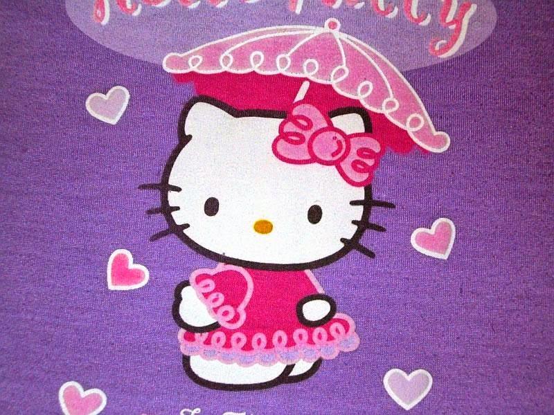 Gambar Hello Kitty ungu pakai payung karena hujan cinta