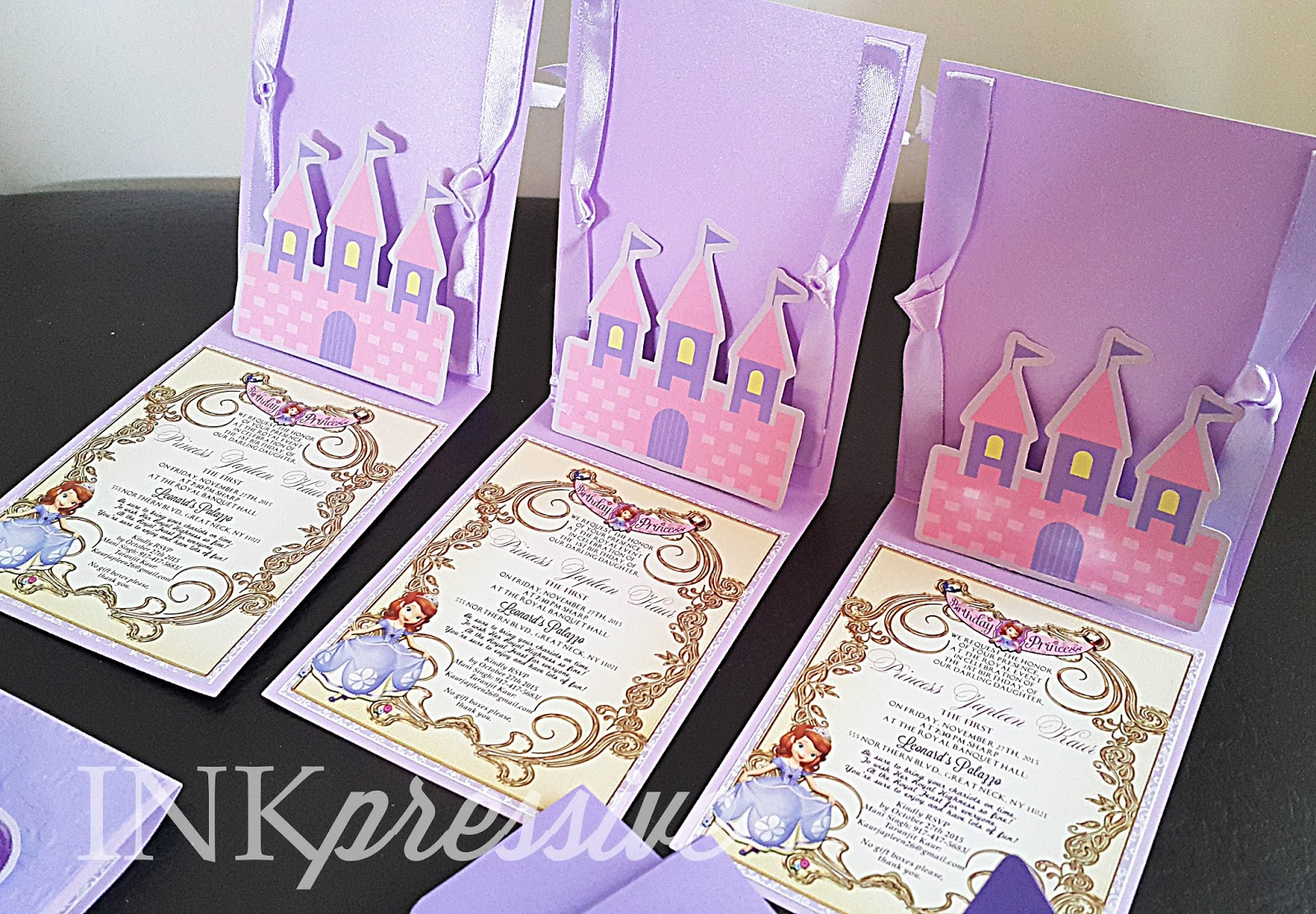 Sofia the First Pop Up Castle Invitation KIDDIE INVITATIONS