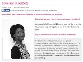 ON PARLE DE LOVE SUR LA COMÈTE