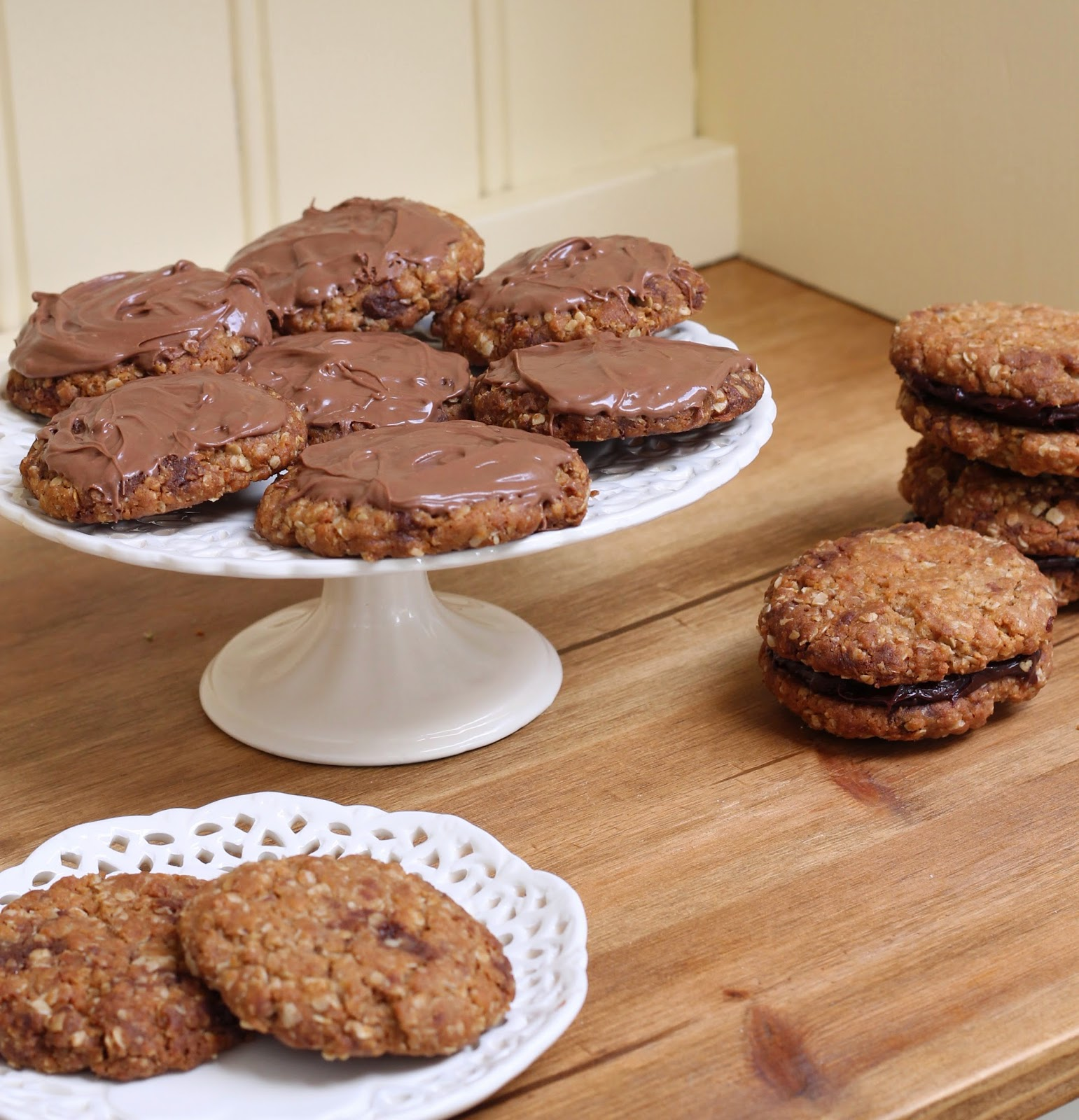 Homemade chocolate hobnobs