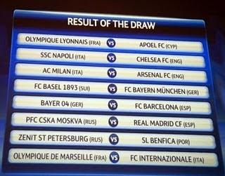 Jadwal Liga Champion 16 besar 2012, jadwal babak 16 besar liga chmpion Jadwal Pertandingan Babak 16 Besar Liga Champions Eropa 2012