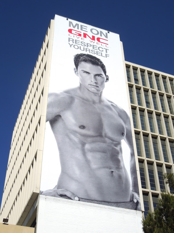 GNC Respect Yourself fitness model billboard