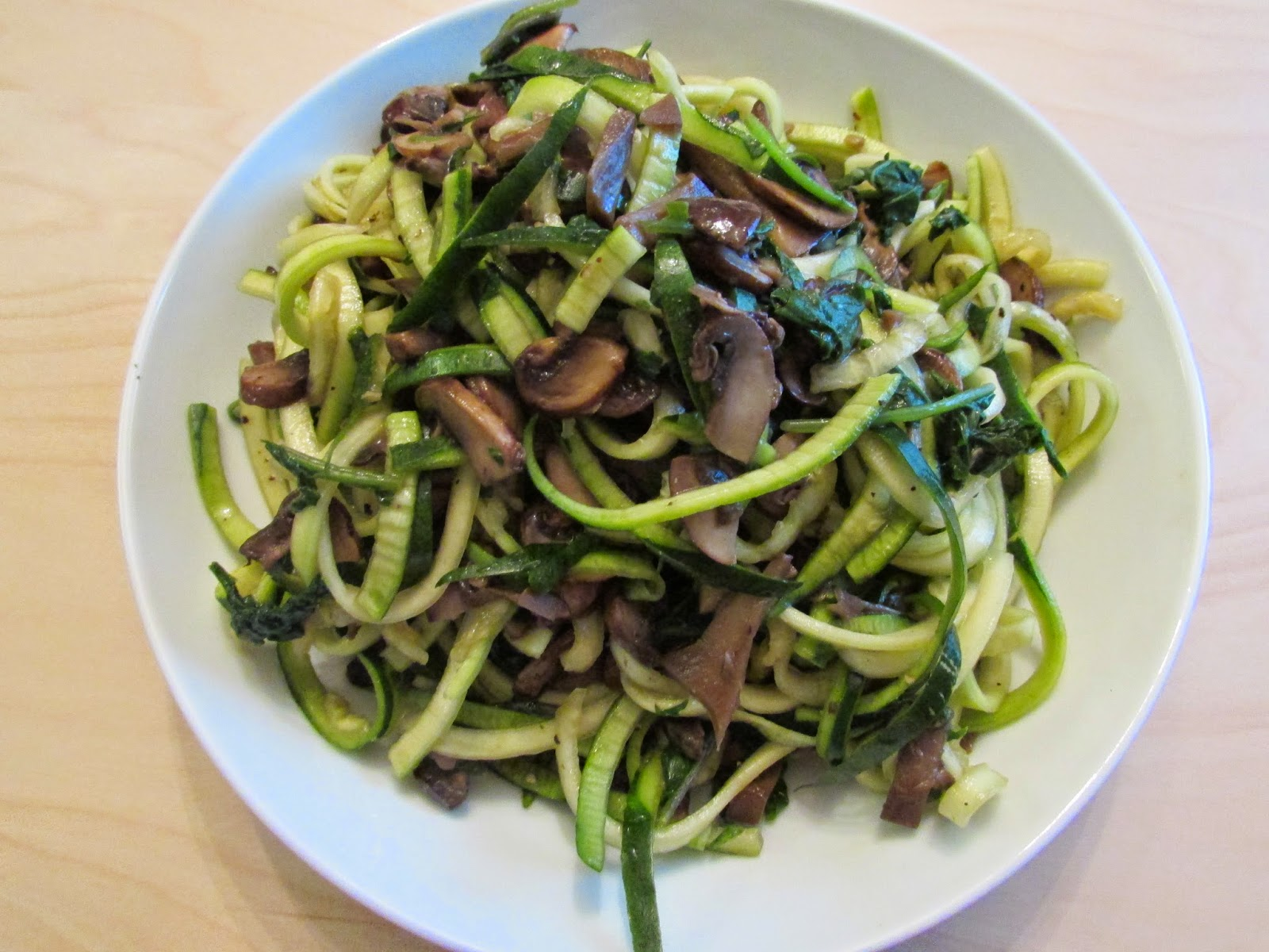Zucchini Noodles with Mushrooms and Kale by http://vegan-plus-fish.blogspot.com/