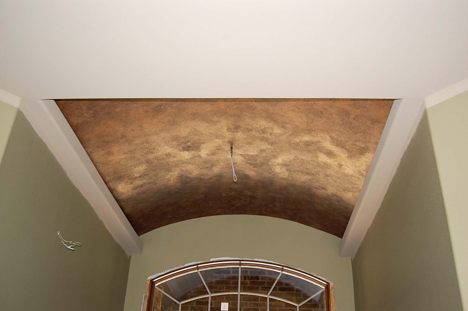 Davis creative painting metallic ceiling faux for Best paint finish for ceilings