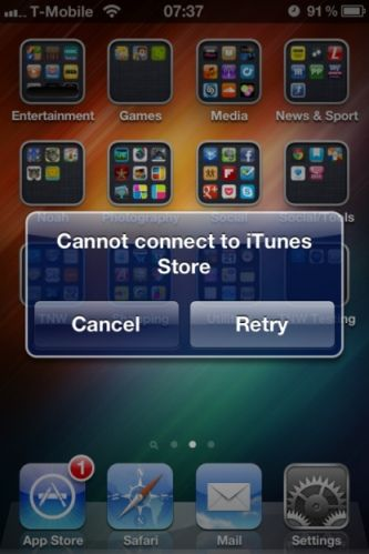"Fixing ""Can't Connect to iTunes Store"" Error"
